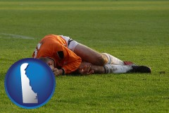delaware map icon and a sports injury