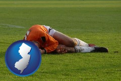 new-jersey map icon and a sports injury
