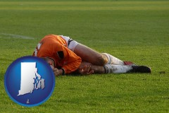 rhode-island map icon and a sports injury