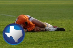 texas map icon and a sports injury